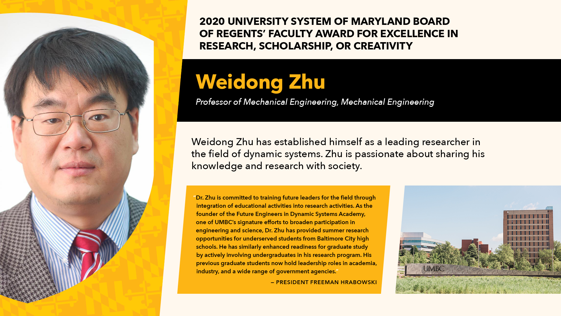 Dr. Weidong Zhu awarded Faculty Excellence Award